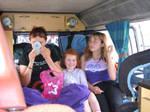 In the van.