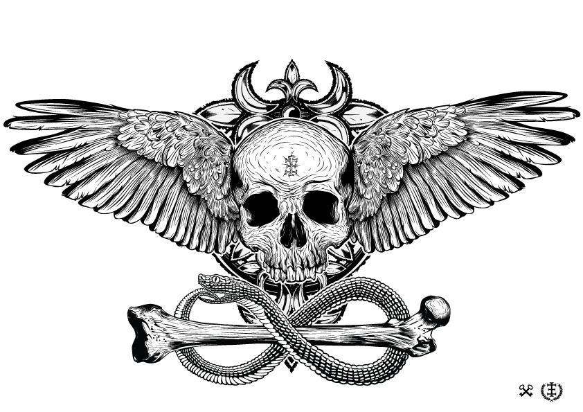 15 pirate skull tattoo skull brushes photoshop for Eyepower tattoo kit