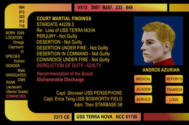 Lt. (SG) Andros Azurian USS TERRA NOVA by David-Zahir