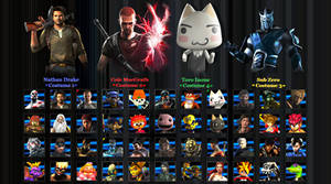 Playstation All-Stars Fighters (My Roster) by DENDEROTTO