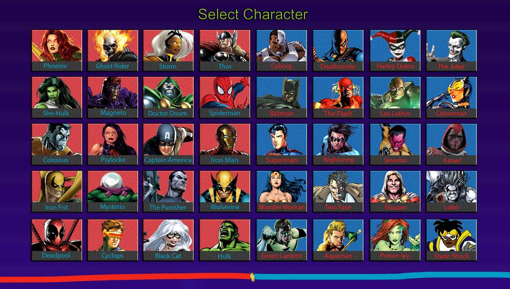 Marvel vs DC Universe - My Roster by DENDEROTTO on DeviantArt