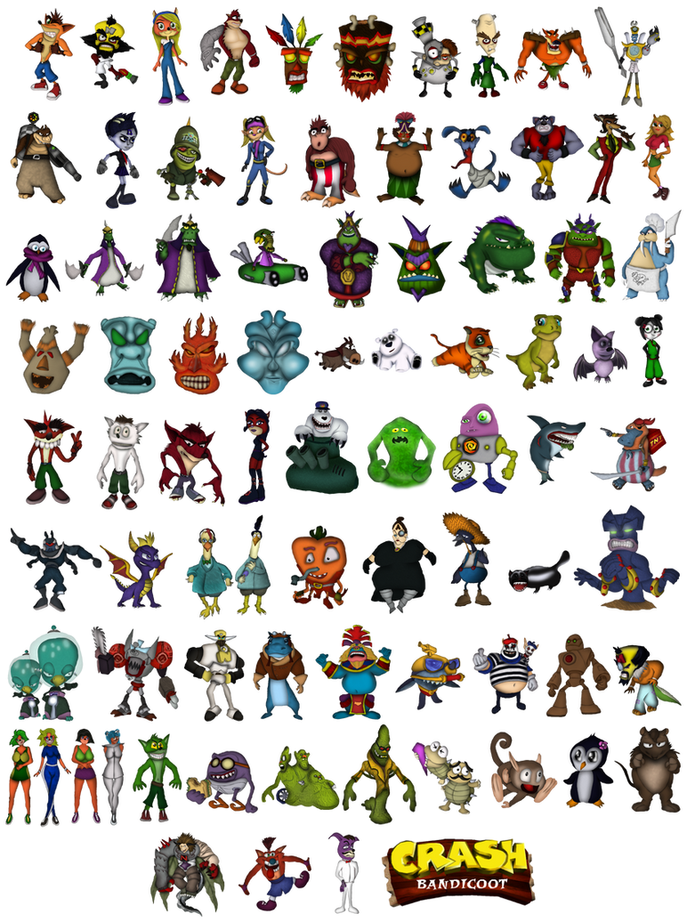 crash bandicoot all characters by denderotto on deviantart