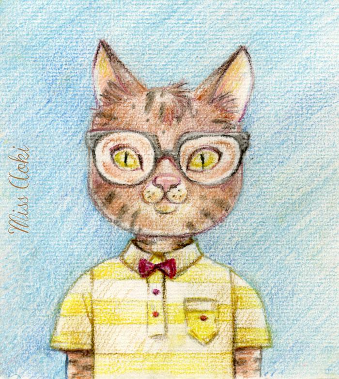 Nerdy Cat by lauramissaoki