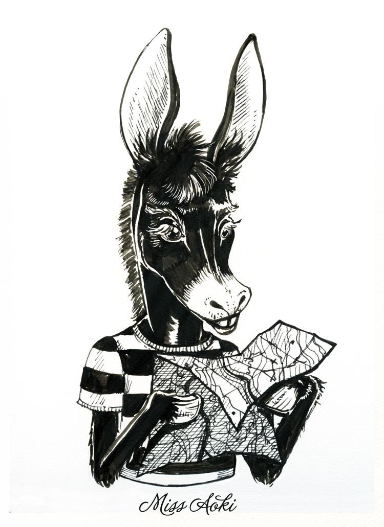 Inktober 7 Donkey by lauramissaoki