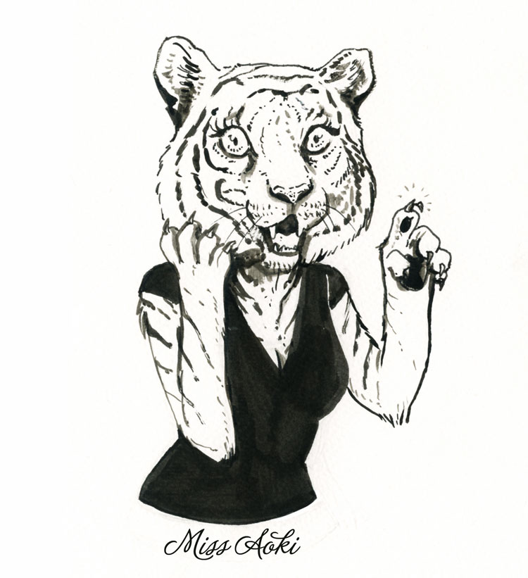 Inktober 9 Tigress by lauramissaoki