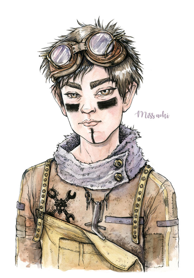Steampunk mechanic boy by lauramissaoki