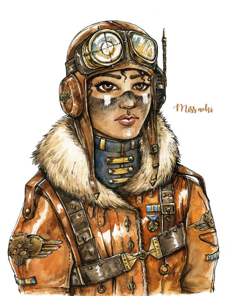 Steampunk Fighter pilot by lauramissaoki