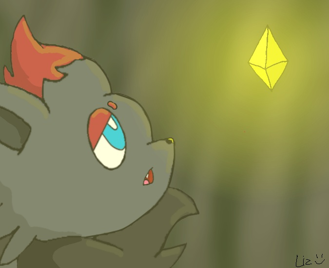Zorua and the Griseous Orb by wafflegirl117