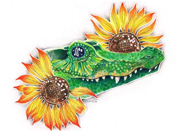Crocodile in the sunflowers by Gebefreniya