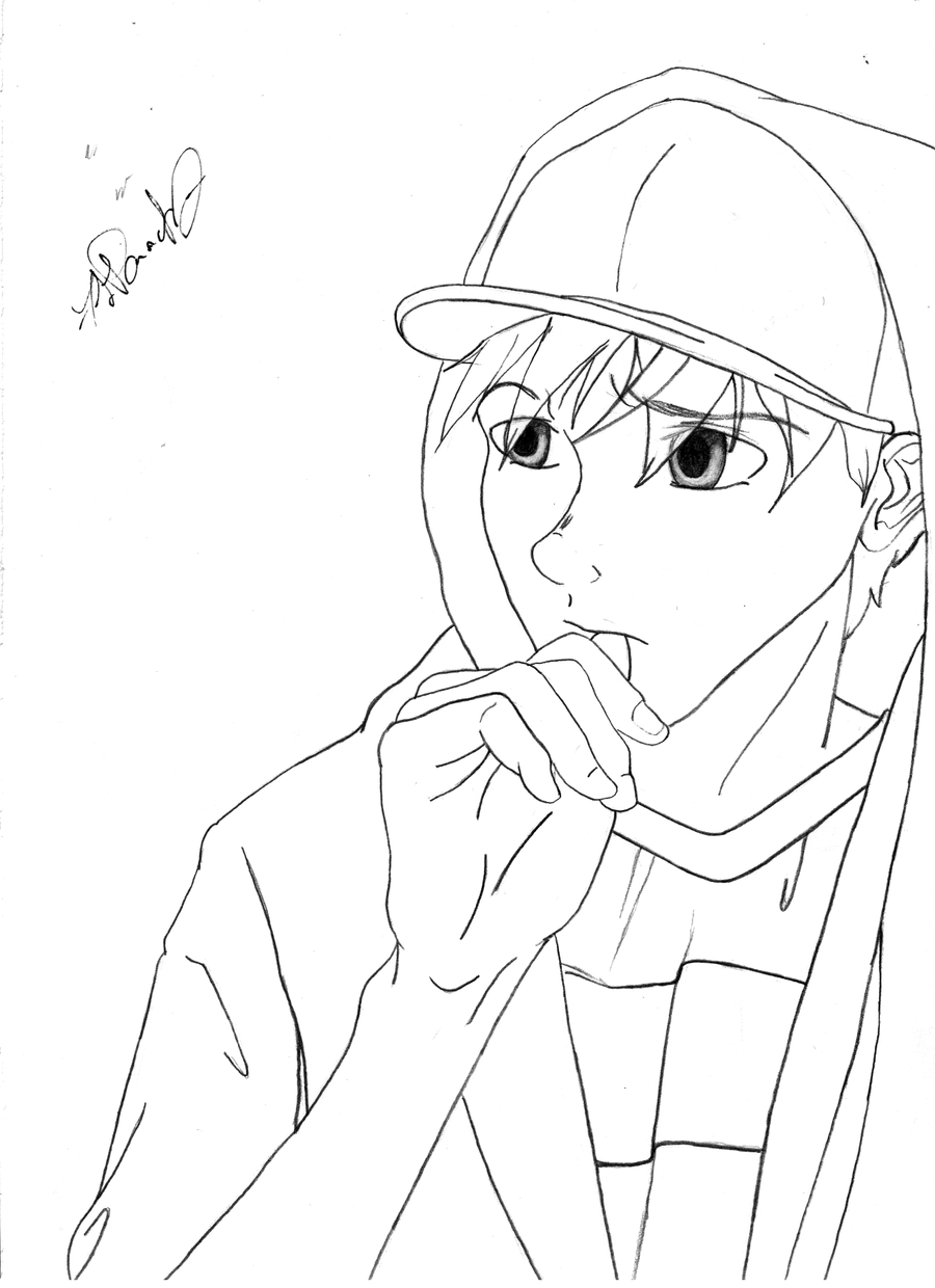 ryu coloring pages - ryu in a hoodie lines by spydey03 on deviantart