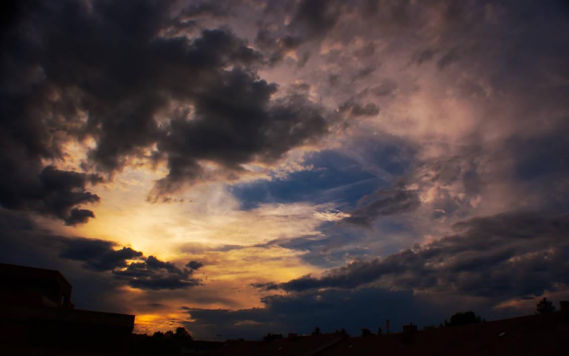 Golden blue sky