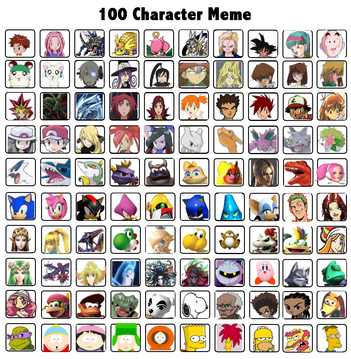 My Top 100 Characters Over All Meme By Whosaskin On Deviantart