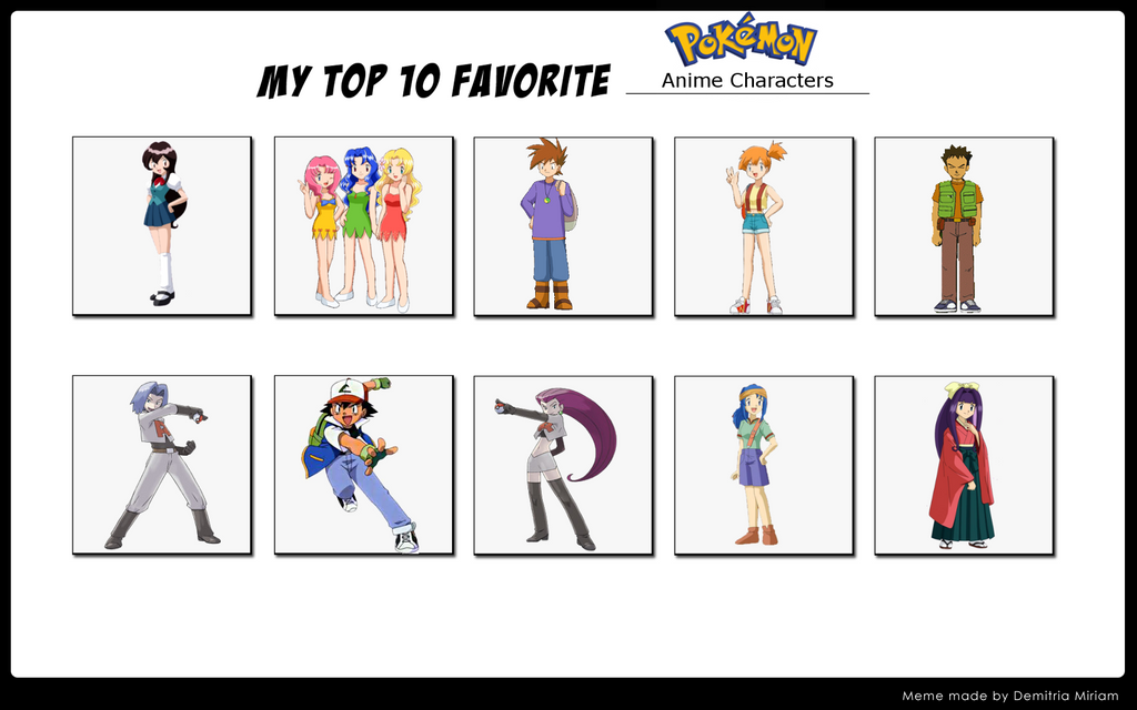 Top 6 Anime Characters : Top pokemon anime characters by whosaskin on deviantart