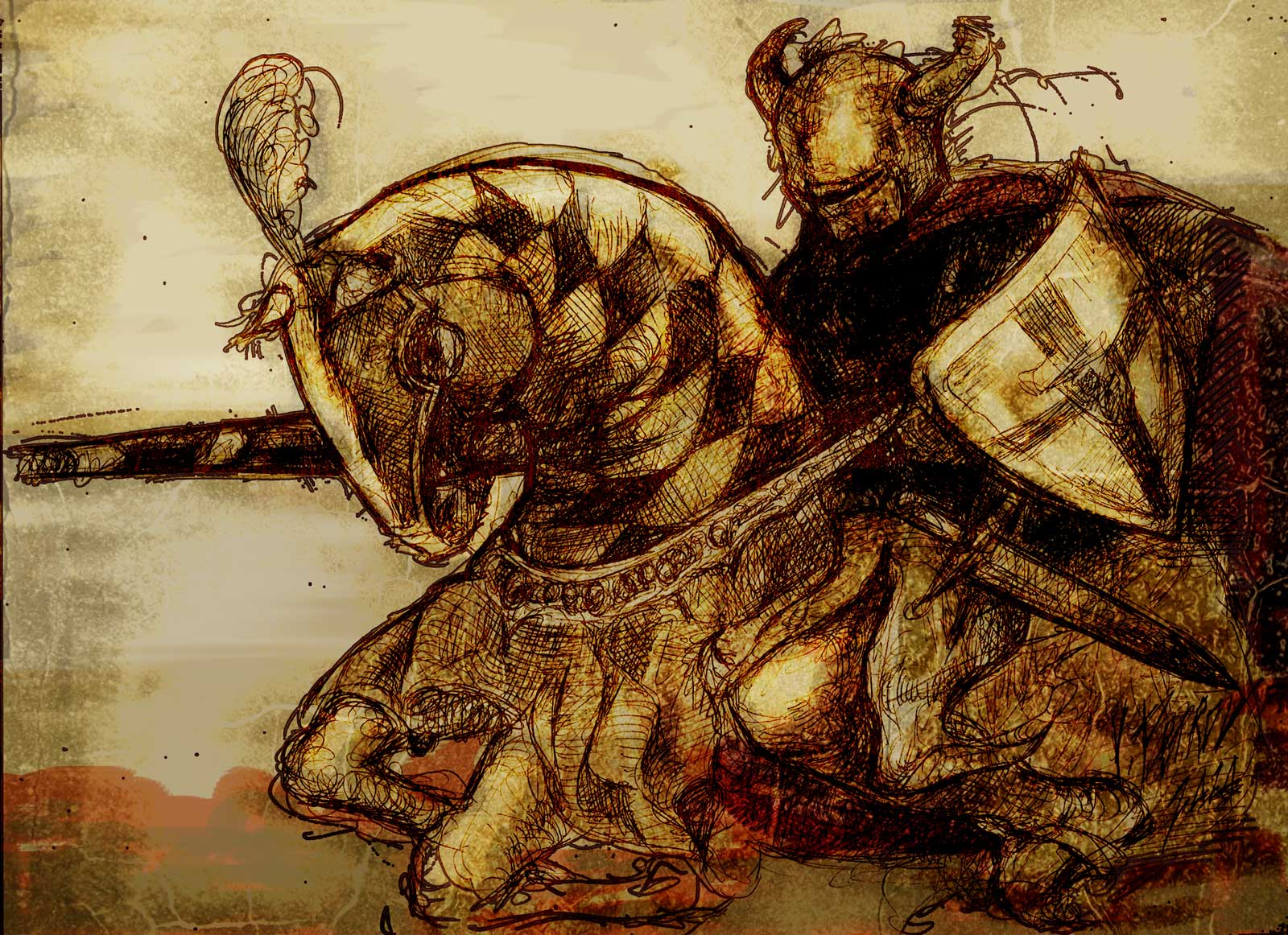 Medieval knight painting