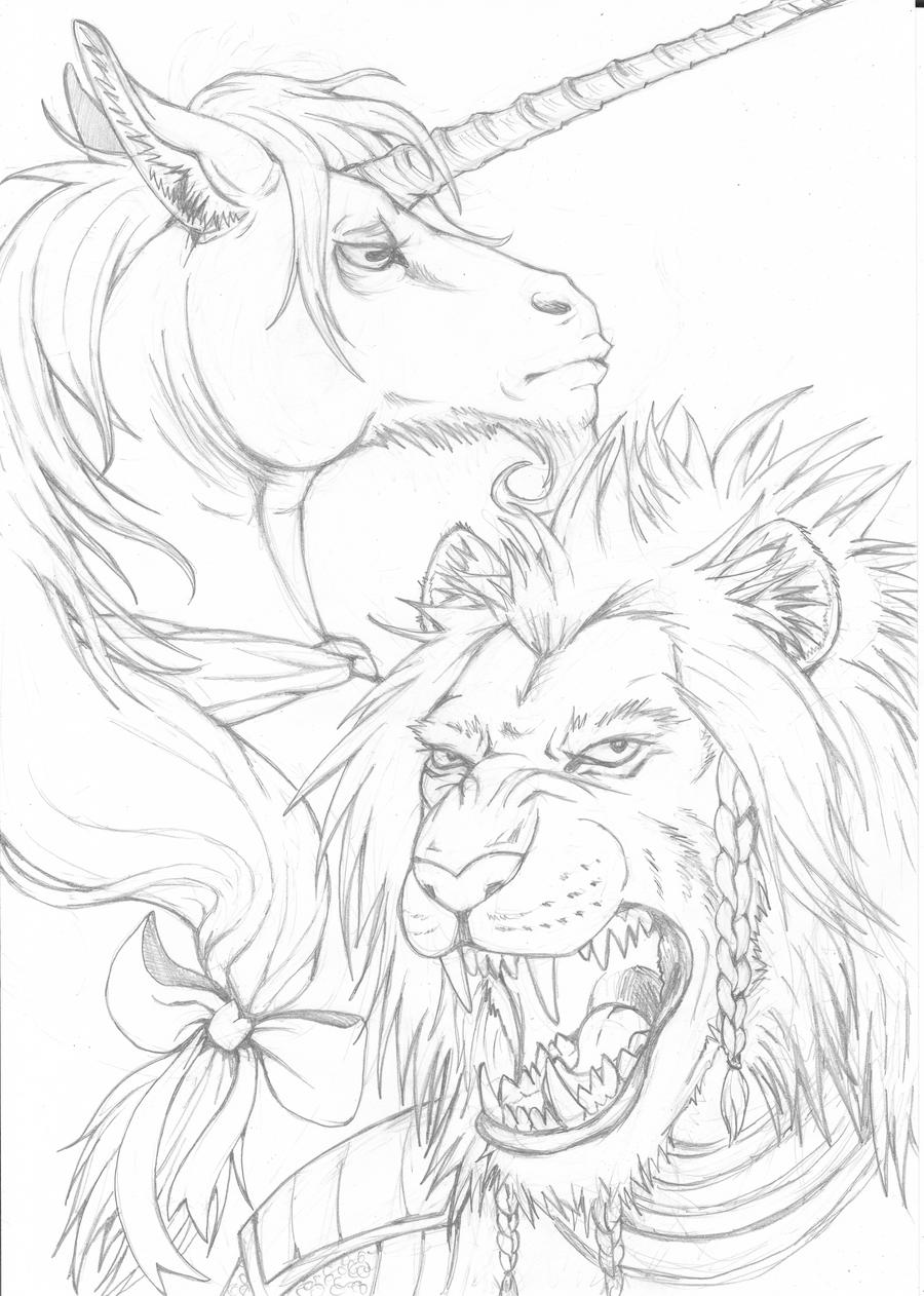Lion and Unicorn lineart by LadyFiszi