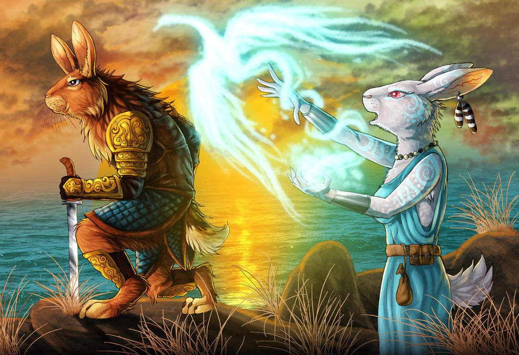 Fantasy Rabbits - warrior and mage by fiszike