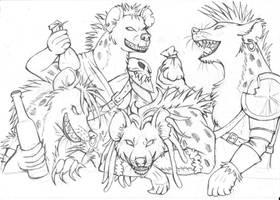 Gnoll Party lineart by LadyFiszi