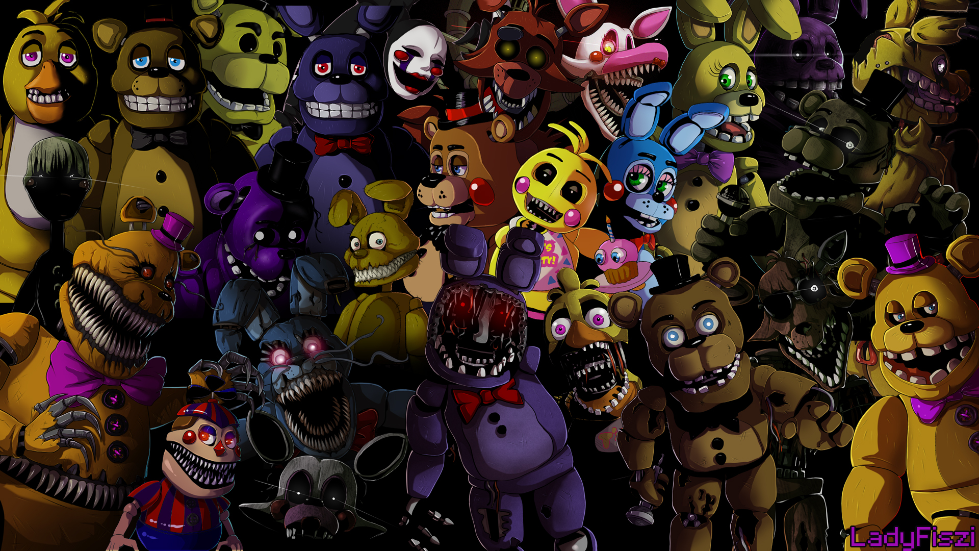Five Nights At Freddy S Animatronics Wallpaper By Ladyfiszi On