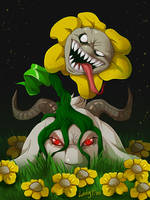 Undertale - Flowey and Asriel by LadyFiszi