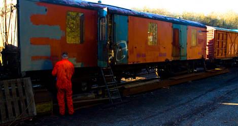 Orange Man at Work by roobaa