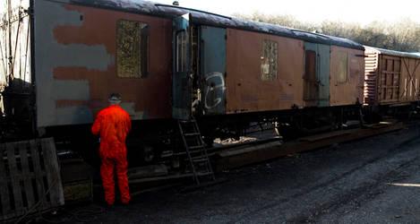 Orange Man At Work Desaturated