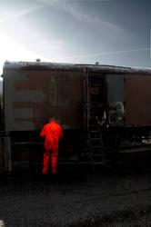 Orange Man with a Train