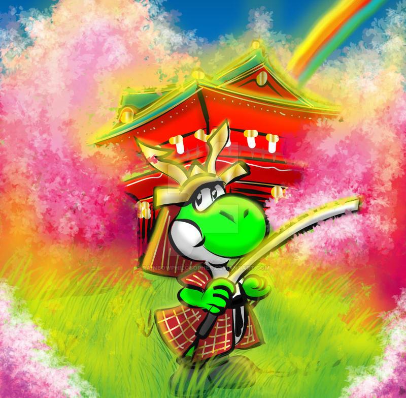 Yoshi with Samurai-sword by RainbowPhilosopher on DeviantArt