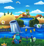 A sunny day in Yoshis Crafted world