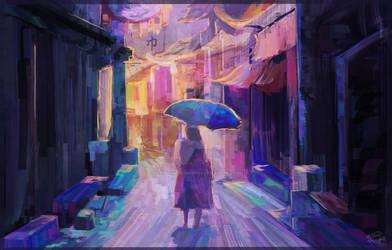 Singing in the rain by RainbowPhilosopher