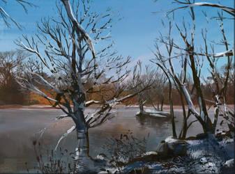 Frozen lake by RainbowPhilosopher