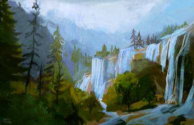 Waterfall forest study by RainbowPhilosopher