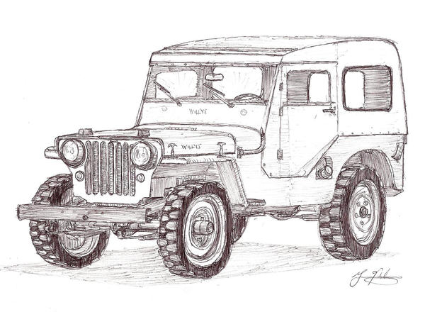 1948 jeep cj 2a with hardtop for the jeep coloring book