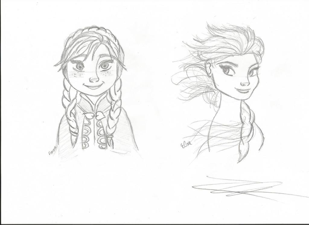 Frozen Sketch  Anna And Elsa By Pridelander1998 On DeviantArt