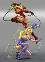 Electra and Nora: Whip Girls (Custom costume). by Naliaw