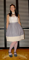 Gray and cream pleated skirt by zeloco
