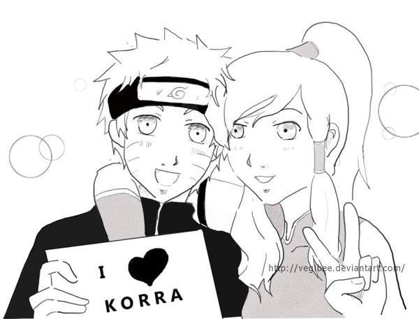 Naruto and Korra by vegibee