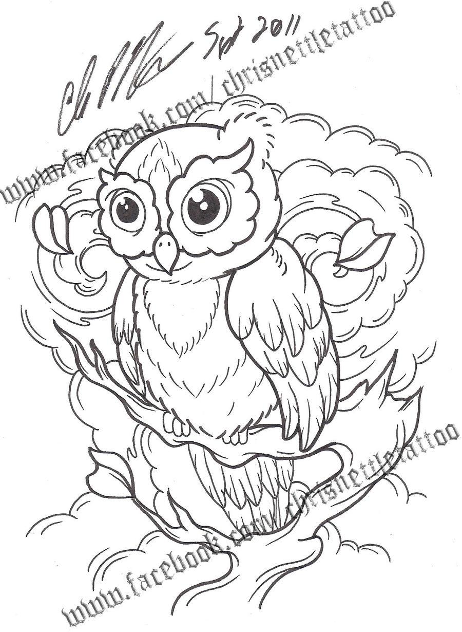 Owl Line Drawing Tattoo : Owl flash by chrisnettletattoo on deviantart
