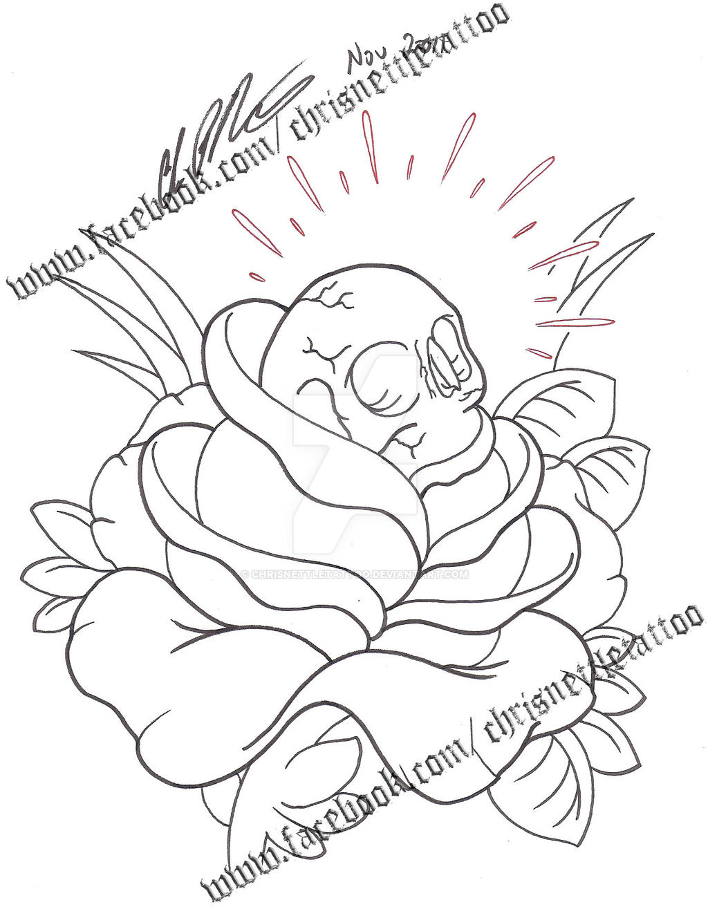 Tattoo Line Drawing Software : Traditional skull with rose watermarked by