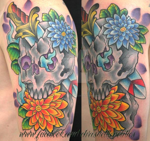 Skull and Dagger with Dahlia Tattoo by ChrisNettleTattoo