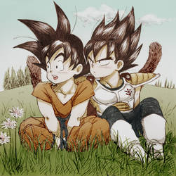 chibi Vegeta and Kakarot, colour ver by nuooon