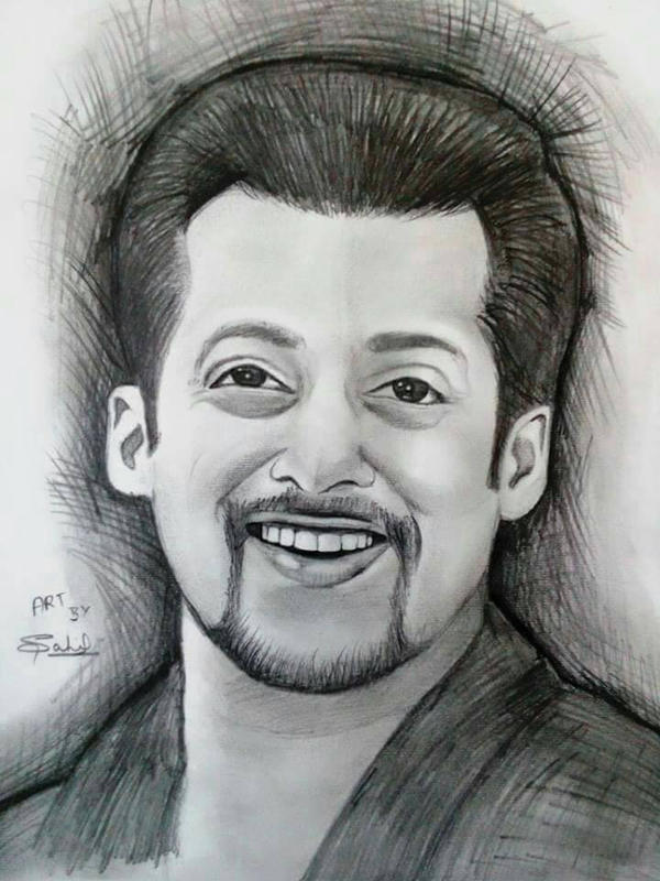 Charcoal pencil sketch of salman khan by iamsahilartist