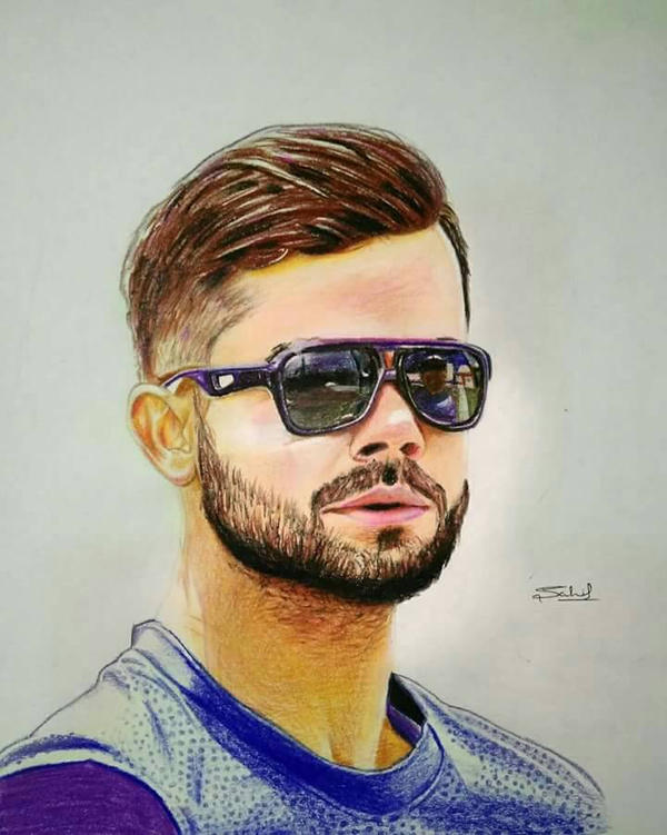 Coloured Pencil Sketch Of Virat Kohli By Iamsahilartist On