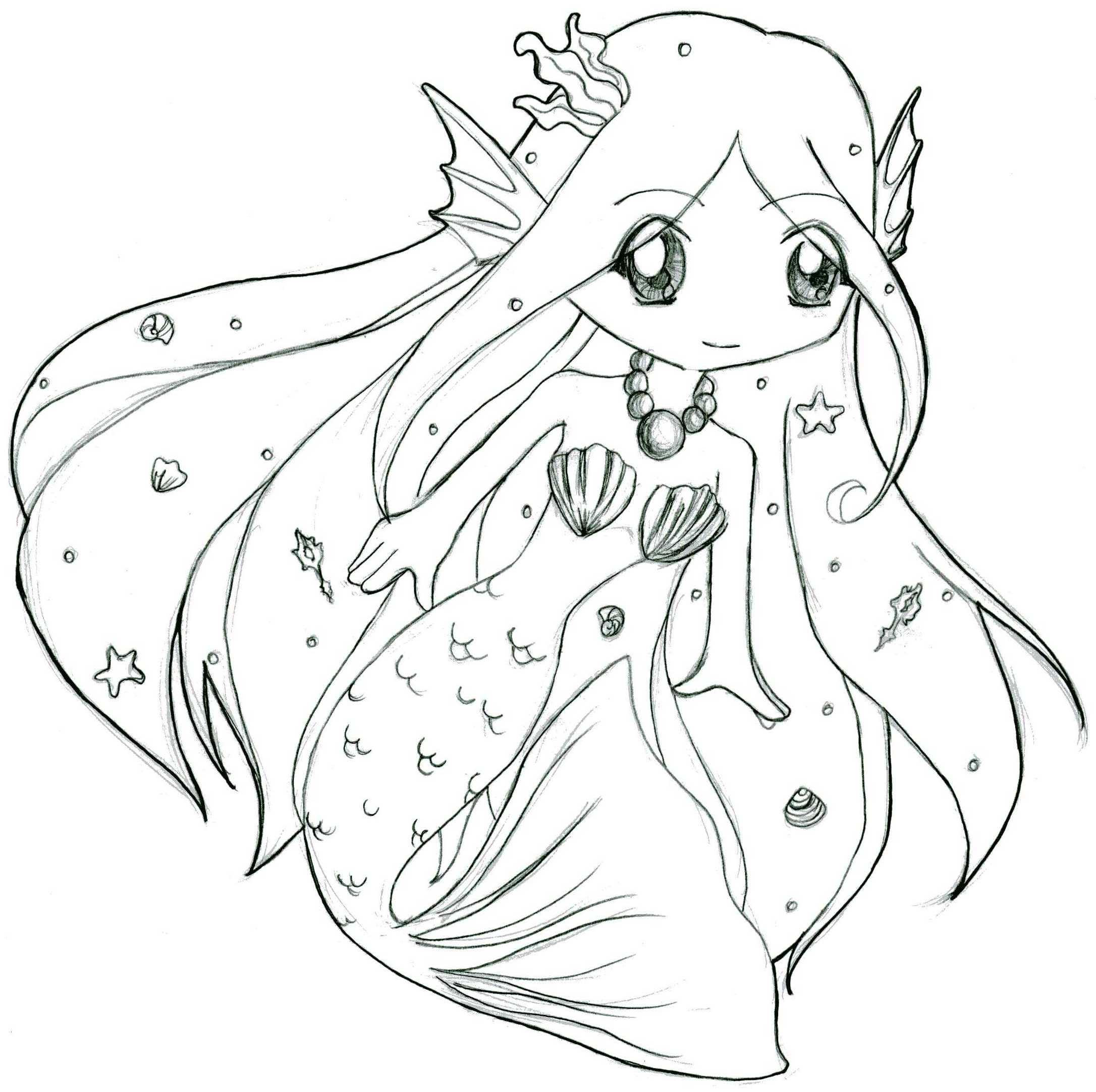 chibi pretty mermaid coloring pages - photo#8