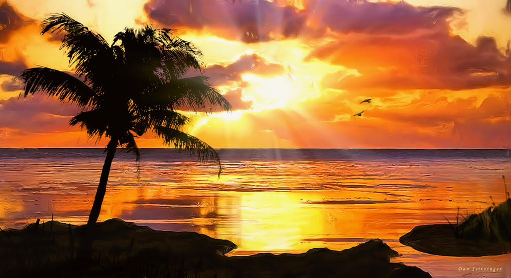 Beautiful Sunset On A Tropical Island Created By Danmarcreations