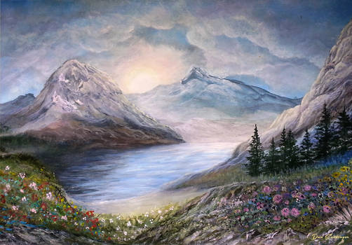 Wildflowers at Sunrise - Painted by Dan Seitzinger