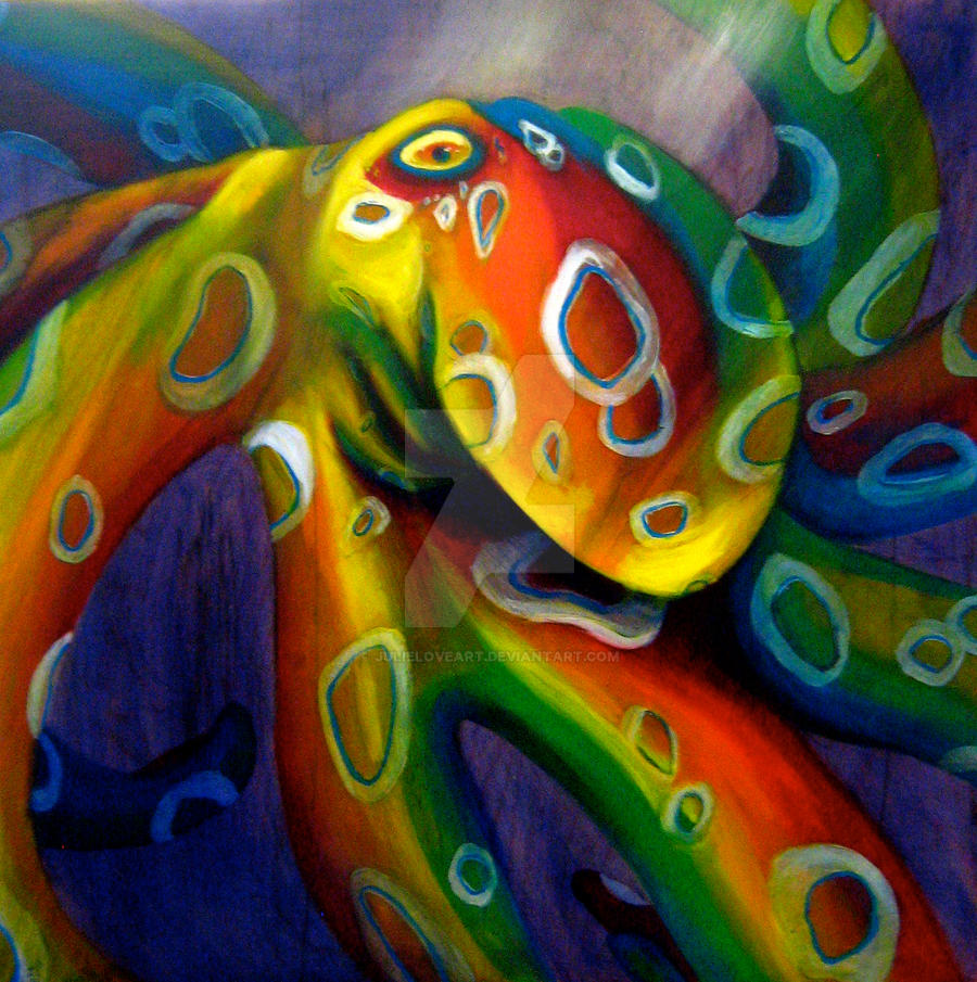 Lollilolli rainbow octopus by julieloveart on deviantart for Colorful octopus painting