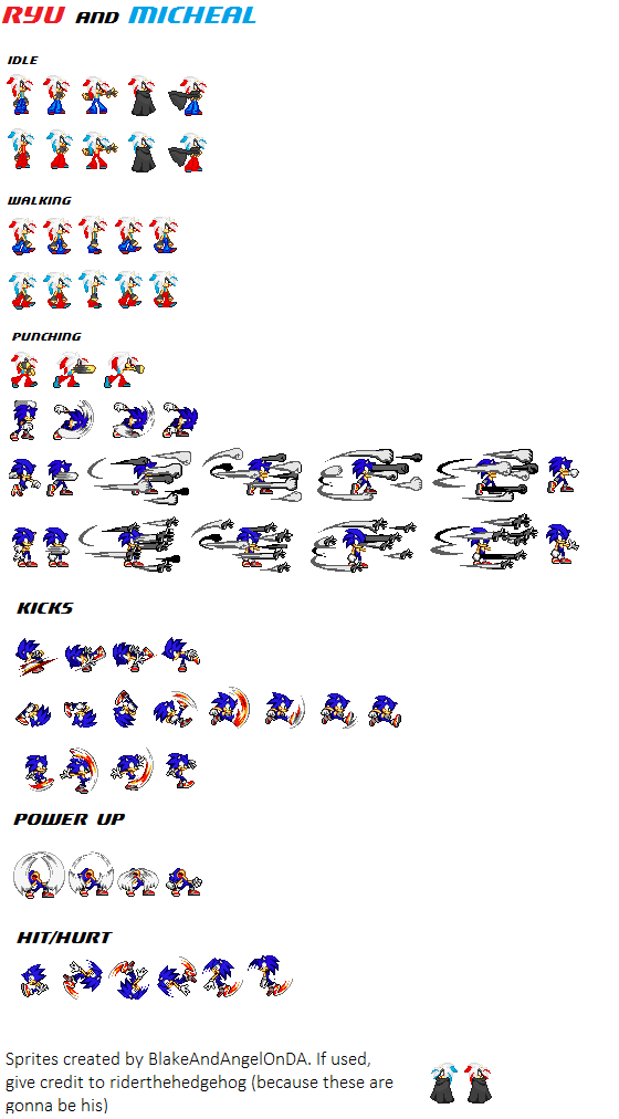 Ryu And Michael Sprite Sheet (incomplete) by BlakeAndAngelOnDA