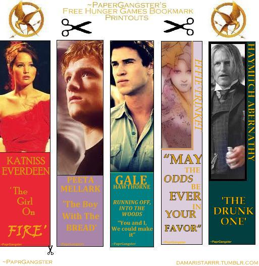 free thg bookmark printouts by paprgangster - Picture Printouts