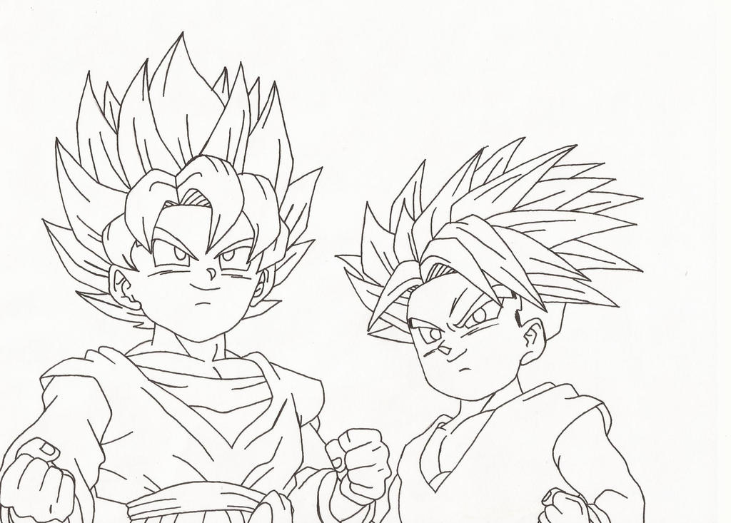 Goten And Trunks Lineart By Superheroarts