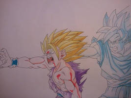 Gohan and Goku - Kamehameha by superheroarts